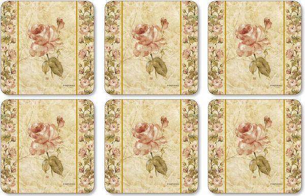 英國進口六入杯墊 - 古董織物玫瑰 Antique Rose Linen