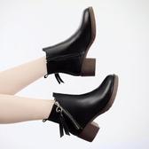 短靴女 韓版女鞋 秋冬新款百搭圓頭中跟大碼馬丁靴女靴裸靴女中跟粗跟靴子【多多鞋包店】ds5311