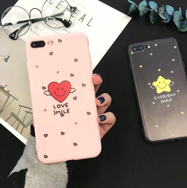 情侶 卡通 可愛 蘋果 手機殼 iPhone7 iPhone6 plus i6s 矽膠 全包 星星 笑臉 保護殼 手機套