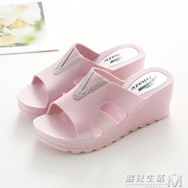 厚底拖鞋女夏室內防滑居家用浴室洗澡高跟厚底楔形夏天女士涼拖鞋外穿 遇见生活