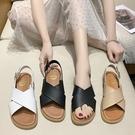 平底涼鞋.MIT韓系百搭純色寬版交叉帶厚底涼鞋.白鳥麗子