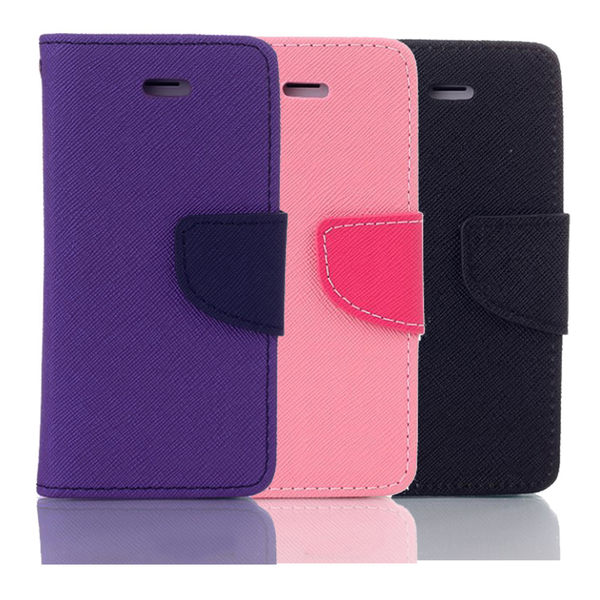 Apple iPhone 7 Plus/iPhone 8 Plus共用 5.5吋馬卡龍雙色手機皮套 撞色側掀支架式皮套 紫粉黑多色可選