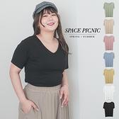 上衣 Space Picnic 棉花糖企劃-素面大V領彈性T恤(現貨)【C21031077】