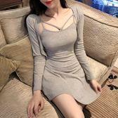性感夜店女裝2019秋裝新款韓版顯瘦抹胸包臀連身裙時尚兩件套裝裙