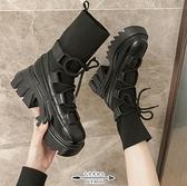 馬丁靴 靴子女早秋款百搭厚底彈力瘦瘦鞋網紅機車小短靴英倫風 - 古梵希