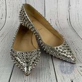 BRAND楓月 Christian Louboutin 銀色 金屬光 鉚釘 平底鞋 娃娃鞋 女鞋 #35.5