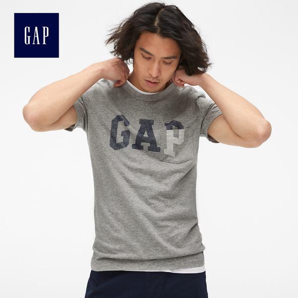 Gap男裝 Logo印花口袋短袖T恤 465938-石楠灰