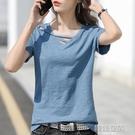 夏裝2021年新款純棉t恤女短袖寬鬆設計感v領半袖小眾體桖上衣服潮