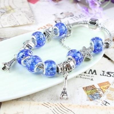 串珠手鍊-琉璃飾品藍色鐵塔生日情人節禮物女配件73bm39【時尚巴黎】