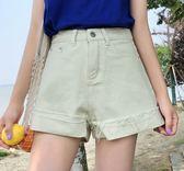 EASON SHOP(GU6630)反摺明線捲邊毛邊抽鬚撕邊流蘇牛仔短褲顯瘦短褲顯瘦包臀高腰女熱褲A字褲