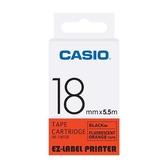 CASIO 標籤機專用螢光色色帶-18mm【螢光橘底黑字XR-18FOE】