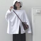 顯瘦減齡下襬開衩長版T桖上衣-大尺碼 獨具衣格