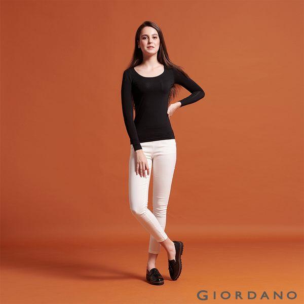 【GIORDANO】 女款Beau-warmer plus+彈力舒適圓領極暖衣-08 標誌黑