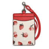 COACH 水果印花PVC撞色防刮皮革掛式證件夾(粉白/橘紅色)198213-35