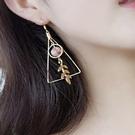 幾何三角葉子寶石耳環 耳針 耳夾 H73012