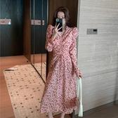 夏裝2020新款法式長裙仙女收腰顯瘦氣質粉色雪紡波點連身裙衣裙女夏季 居享優品
