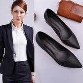 糖果時尚 工作鞋女黑色細跟粗跟中跟低跟職業面試上班高跟舒適皮鞋正裝工鞋