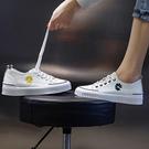 真皮小菊花板鞋 韓版運動休閒鞋 繫帶小白鞋/2色-標準碼-夢想家-0331