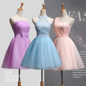 SISI【D5205】平口、單肩、無袖、圍脖短款伴娘禮服晚禮服小禮服連身裙洋裝