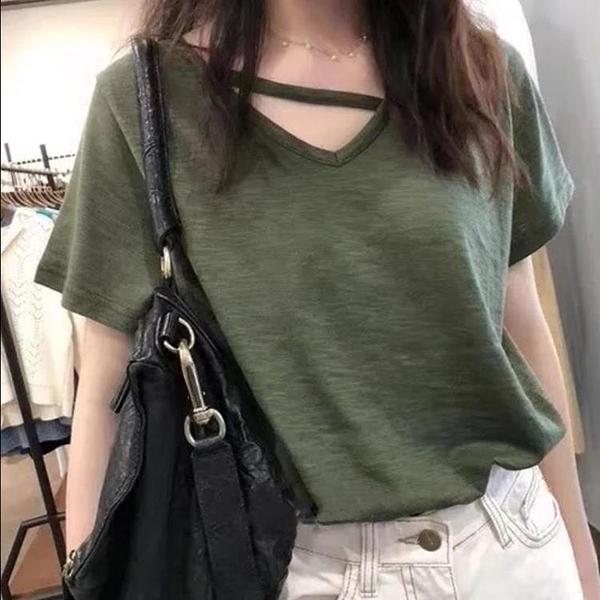 夏季竹節棉打底衫寬鬆v領短袖t恤女上衣潮-Milano米蘭