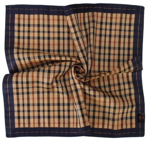 DAKS 經典格紋LOGO刺繡領巾(藍邊)989108-22