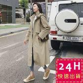 梨卡★現貨 - 韓國高品質挺版寬鬆長版卡其色顯瘦縮腰抽繩立領西裝防風外套風衣長大衣AR003