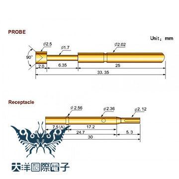 ◤大洋國際電子◢ 探針 P125-J1 (10PCS/包) IC板測試 電機 電工 0095