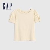 Gap女童 純棉輕薄泡泡袖T恤 785664-米白色