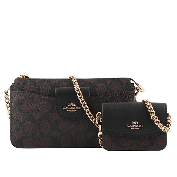 【COACH】Poppy 塗層帆布拼皮革附小袋斜背包(黑色/巧克力色) C3328 IMAA8