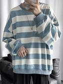 子俊男裝韓版ins條紋衛衣秋季情侶百搭圓領寬鬆外套潮流厚款上衣 韓國時尚週