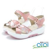 涼鞋 夏日沁甜亮彩真皮楔型涼鞋(粉)*0101shoes  【18-256pk】【現+預】