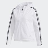 ADIDAS 3-STRIPES 女裝 外套 連帽 風衣 休閒 運動 防風 拉鍊 口袋 百搭 白【運動世界】FM9257