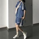 2021新款港味運動服女夏跑步套裝拼色上衣加闊腿休閒短褲兩件套潮 果果輕時尚