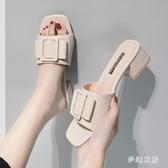 涼拖鞋女外穿大碼高跟拖鞋夏季新款時尚韓版ins百搭網紅社會高跟拖鞋粗跟 SN870【夢幻家居】