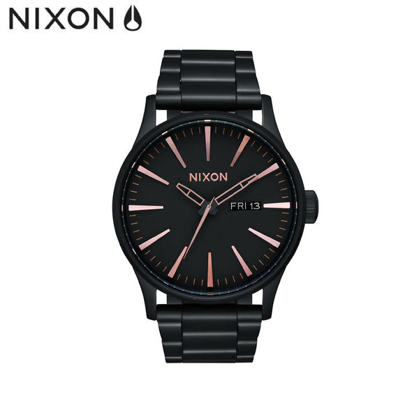 NIXON手錶 原廠總代理A356-957 THE SENTRY SS 黑玫色 潮流時尚鋼錶帶 男女 運動 生日情人節禮物