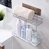 雙層不銹鋼浴室置物架洗澡間壁掛洗漱架衛生間免打孔收納架