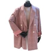 西裝外套-小西服翻領粉色格紋寬鬆女外套73wd25[巴黎精品]