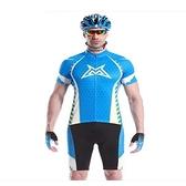 自行車衣套裝-含短袖腳踏車服+單車褲-加厚超透高彈男運動服69u13[時尚巴黎]