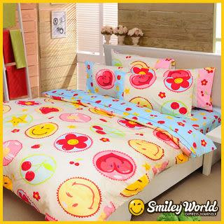 【Smiley】《快樂糕點》長纖絲光精梳棉加大雙人床包兩用被四件組 (晴空藍)