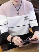 秋裝t恤長袖男裝衣服秋季上衣韓版寬鬆衛生衣體恤新款潮流連帽T恤小衫 依夏嚴選