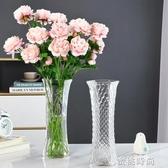 現代簡約玻璃花瓶透明大號富貴竹百合水培鮮花插花裝飾擺件六角瓶『蜜桃時尚』