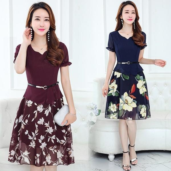 FINDSENSE G5 韓國時尚 印花 拼接 修身 短袖 氣質 雪紡 連身裙