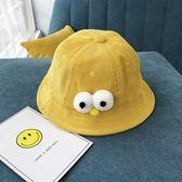 新款兒童漁夫帽秋冬燈芯絨女童盆帽卡通男童1-3歲潮寶寶帽子