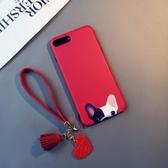 紅色斗牛犬iphone6s plus手機殼蘋果6硅膠8plus掛繩狗7卡通韓X女