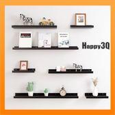 牆上置物架裝飾品架子牆壁裝飾鑰匙收納小物收納房間隔板白黑木【AAA5566 】