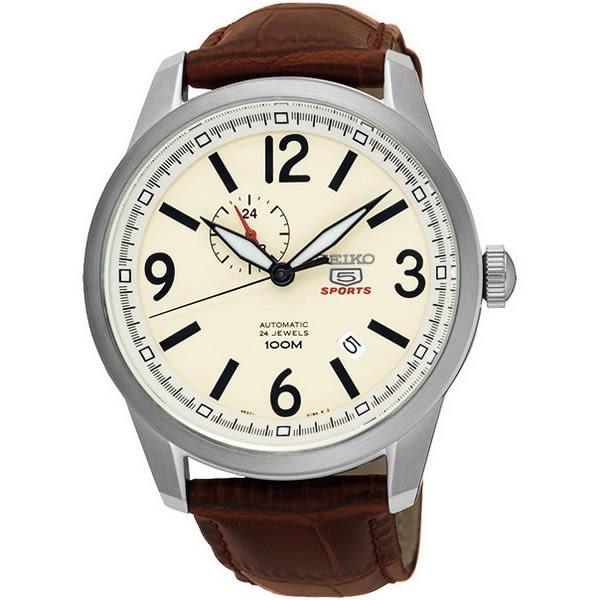 【台南 時代鐘錶 SEIKO】精工 盾牌五號 典雅機械錶 SSA295J1@4R37-01D0S 皮帶/米黃 42mm