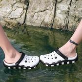 洞洞鞋男士新款外穿拖鞋男夏室外潮流包頭涼鞋防滑軟底沙灘鞋 【快速出貨】