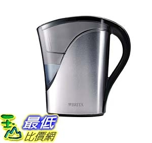 [106美國直購] Brita 不鏽鋼濾水壺 Medium 8 Cup Stainless Steel Water Pitcher with Filter