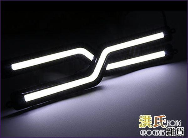 【洪氏雜貨】 236A653  日行燈 COB閃電S型 白光2入  LED 燈條 晝行燈 氣氛燈
