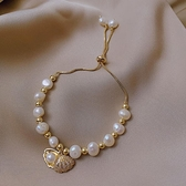手鏈 貝殼淡水珍珠手鏈女精致學生閨蜜氣質手飾ins小眾設計手串手鐲潮 歐歐